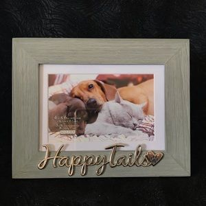 """Happy Tails"" wood frame with mat"